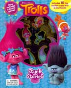 Stuck on Stories Dreamworks Trolls with 10 toy suction cups and a storybook!